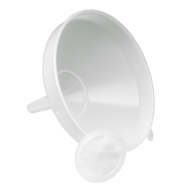White Plastic Funnel With Straining Filter Disc - 12 Inch / 30 cm