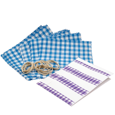 Gingham Cotton Jam Jar Covers With Bands & Labels - Blue - Pack of 12