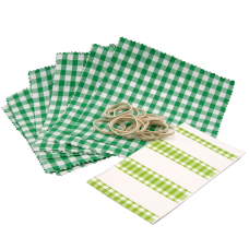 Gingham Cotton Jam Jar Covers With Bands & Labels - Green - Pack of 12