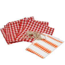 Gingham Cotton Jam Jar Covers With Bands & Labels - Red - Pack of 12