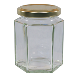 12oz Hexagonal Jam Jar With Gold Lid - Pack of 6
