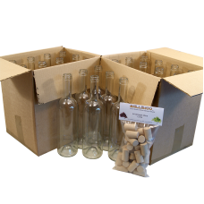 750ml Clear Wine Bottles With Corks - Box of 24