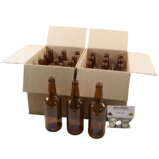 500ml Amber / Brown Glass Beer Bottles With Crown Caps - Pack of 24