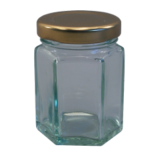 55ml Hexagonal Jar (Small) With Gold Lids - Pack of 6