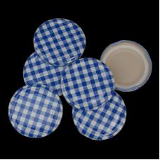 63mm Twist On Jam Jar Lids - Blue Gingham - Pack Of 6
