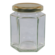 8oz Hexagonal Jam Jar With Gold Lid - Pack of 12