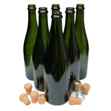 75cl Green Champagne / Sparkling Wine Bottles With Traditional Corks & Cages - Box Of 6