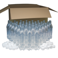 500ml Clear PET Plastic Bottles With White Caps - Pack of 40