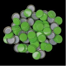 100 Light Green Crown Caps - 26mm - For Beer Bottles