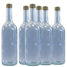 750ml Clear Glass Screw Cap Bottles - Spirit / Mineral Water / Juice - Pack Of 9