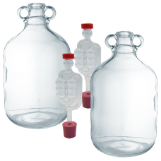2 x 4.5 Litre / 1 Gallon Glass Demijohns Including Bungs And Airlocks