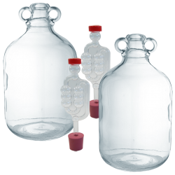 2 x Glass 1 Gallon Demijohns Including Bungs And Airlocks