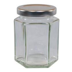 110ml Hexagonal Jar With Silver Lid - Pack of 6