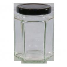 12oz Hexagonal Jam Jar with Black Lid - Pack of 6
