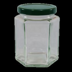 12oz Hexagonal Jam Jar with Green Lid - Pack of 6