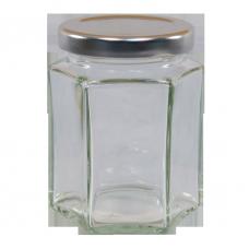 12oz Hexagonal Jam Jar with Silver Lid - Pack of 6