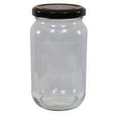 1lb / 450g Round Glass Jam Jars With Black Lids - Pack Of 6