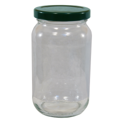 1lb / 450g Round Glass Jam Jars With Green Lids - Pack Of 6