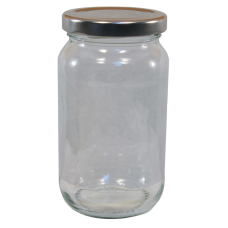 1lb / 450g Round Glass Jam Jars With Silver Lids - Pack Of 6