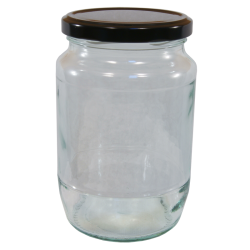 2lb / 900g Round Glass Jam Jars With Black Lids - Pack Of 6