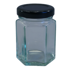 55ml Hexagonal Jar (Small) With Black Lids - Pack of 6