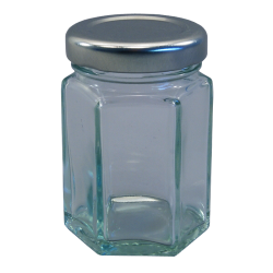 55ml Hexagonal Jar (Small) With Silver Lids - Pack of 6