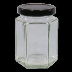 8oz Hexagonal Jam Jar With Black Lid - Pack of 6