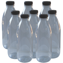 Clear Plastic PET Juice Bottle With Tamper Proof Cap - 1 Litre - Pack Of 8