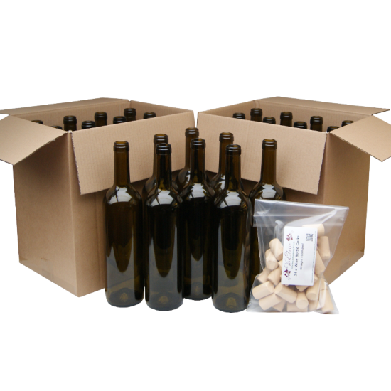 750ml Green Wine Bottles With Corks - Box of 24