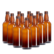 500ml Brown Glass Beer Bottles With Crown Caps - Pack of 12