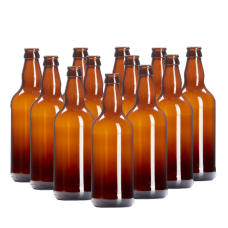 500ml Amber / Brown Glass Beer Bottles With Crown Caps - Pack of 12