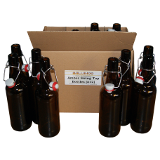 500ml Amber / Brown Glass Swing Top Bottles - Grolsh Style Box of 12