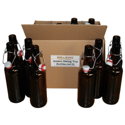 500ml Amber Glass Swing Top Bottles - Grolsh Style Box of 12