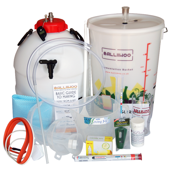 Balliihoo Premium Equipment Starter Set For Beer Kits - With King Keg Top Tap Barrel, CO2 Injection System and Heating Belt