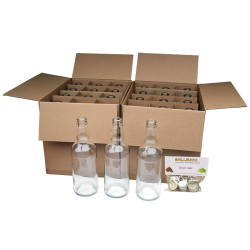 500ml Clear Glass Beer Bottles With Crown Caps - Pack of 24