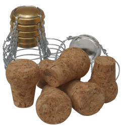 Traditional Style - Natural Champagne Corks & Cages / Wires - Pack of 6