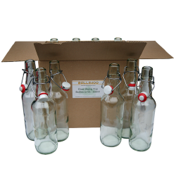 500ml Clear Glass Swing Top Bottles With Ceramic Stoppers- Box Of 12