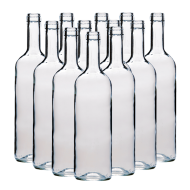 750ml Clear Wine Bottles With Corks - Box of 12
