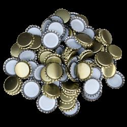 100 Gold Crown Caps - 26mm - For Beer Bottles