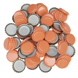 100 Orange Crown Caps - 26mm - For Beer Bottles