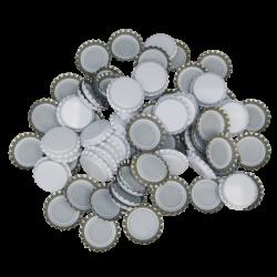 100 White Crown Caps - 26mm - For Beer Bottles