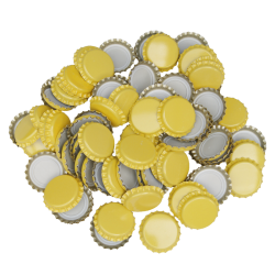 100 Yellow Crown Caps - 26mm - For Beer Bottles