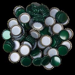 100 Green Crown Caps - 26mm - For Beer Bottles