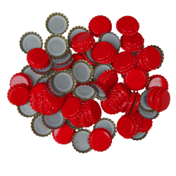 100 Red Crown Caps - 26mm - For Beer Bottles