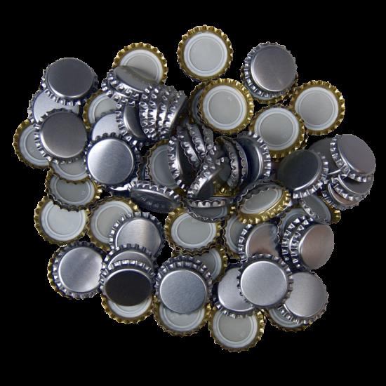 100 Silver Crown Caps - 26mm - For Beer Bottles
