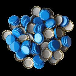 100 Sky Blue Crown Caps - 26mm - For Beer Bottles