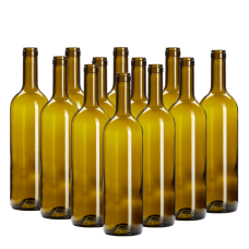 750ml Green Wine Bottles With Corks - Box of 12