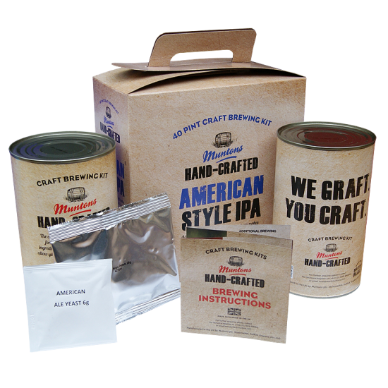 Muntons Hand Crafted American Style IPA - 40 Pint Kit - Floral, Citrus India Pale Ale