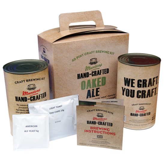 Muntons Hand Crafted Oaked Ale - 40 Pint Kit - Rich, Mellow Cask Style Ale