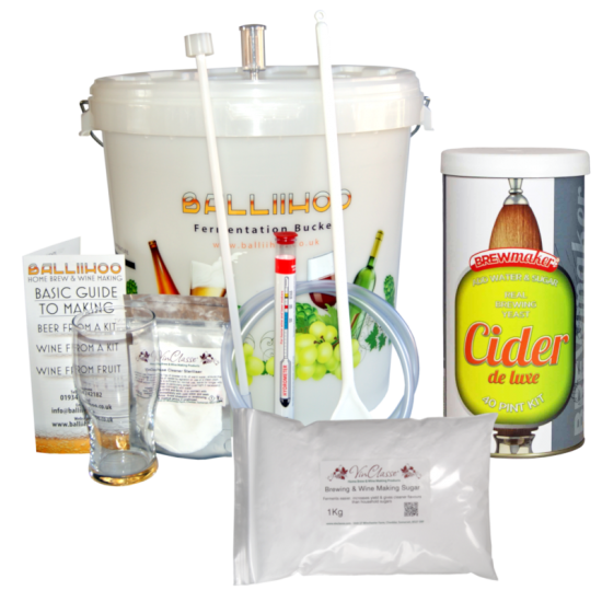 Balliihoo Basic Starter Kit - 40 Pint Cider DeLuxe & 1Kg Brewing Sugar